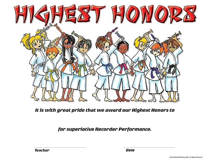 Highest Honors - Pack of 25 - Recorder Award Certificates