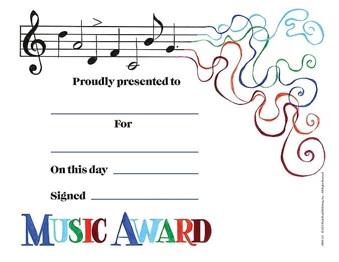 Scherzo Music Award - Pack of 25 - Music Award Certificates