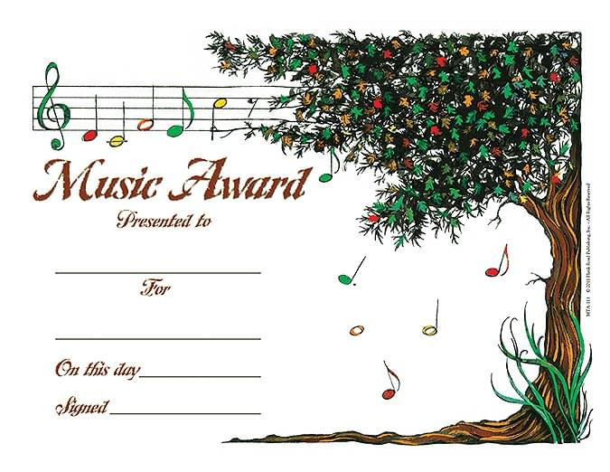 Music Tree Award - Pack of 25 - Music Award Certificates