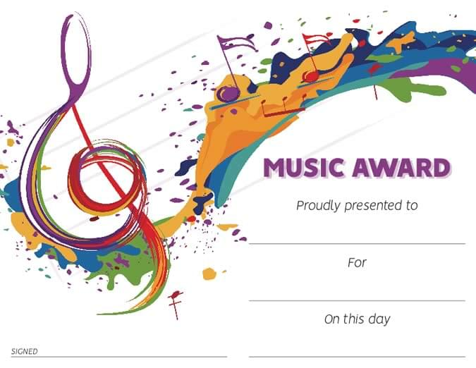 Music Award Certificate - Downloadable / Fillable Certificate