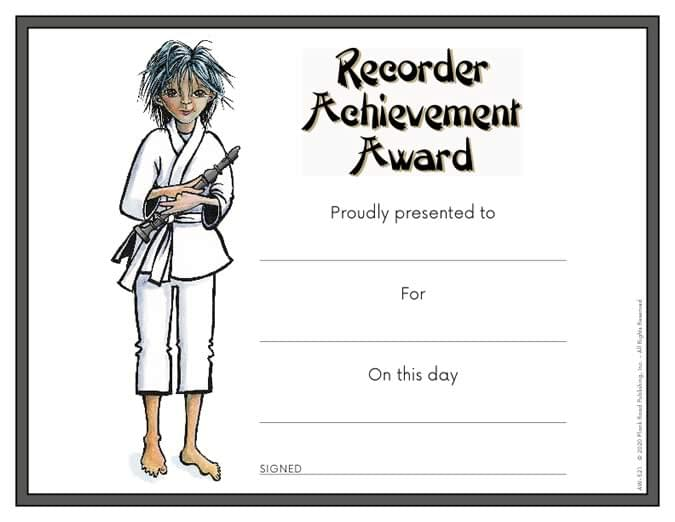 Recorder Achievement Award Certificate - Downloadable / Fillable Certificate