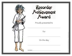 Recorder Achievement Award Certificate