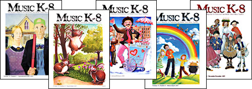 Various issues of Music K-8 magazine.